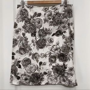 Free People Cotton Black & White Floral Skirt